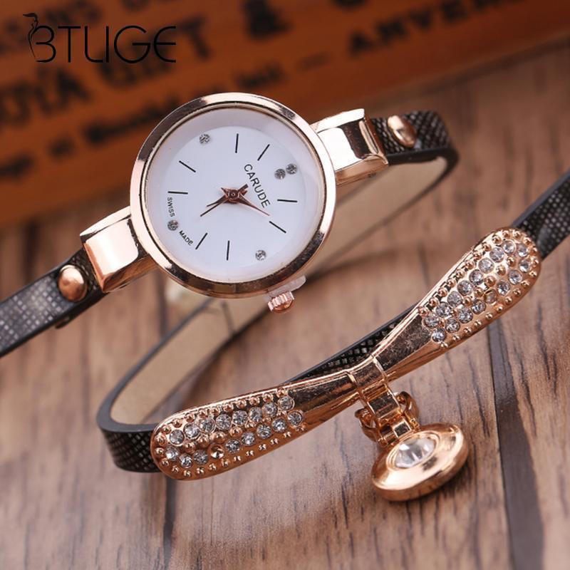 Fashion New Women Quartz Watch Round Pu Leather Slim Strap Ladies Bracelet Watch Couple Watch