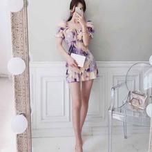 Цельнокроеное корейское платье новинка 2020 летнее женское элегантное