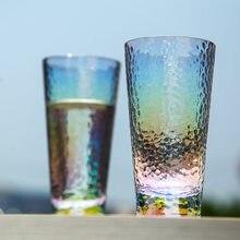6 pçs criativo arco-íris copo de vidro martelado copo mágico colorido copo de água colorido copo de vinho copo de suco de vidro bebida caneca de taça vaso