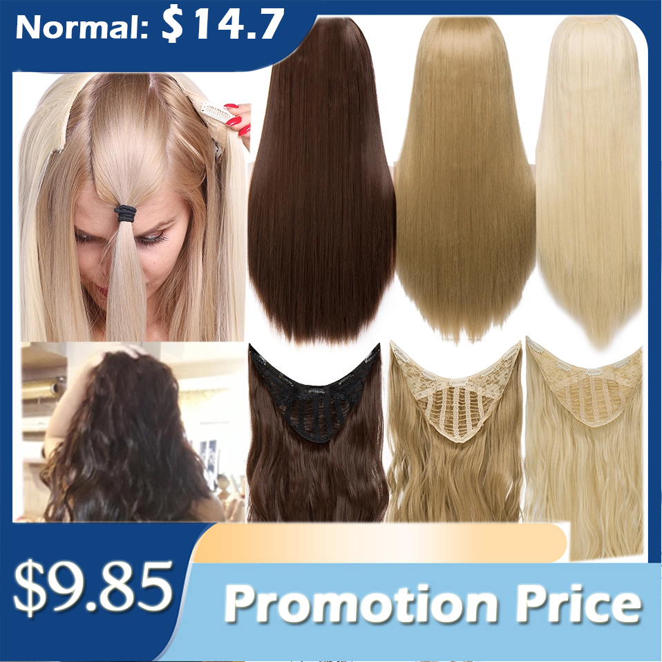 HAIRRO Clip in Hair Extension U part Natural Hair Straight Long Blonde Black False Hair Piece Synthetic Hairpiece Heat Resistant