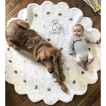 120cm Nordic Dot Wavy Round Children Carpet Home Mat Baby Room Carpet Baby Crawling Mat Pink Photography Studio Background Mat
