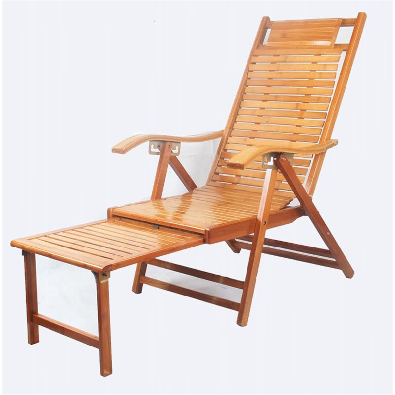 Reclining Chair Folding Lunch Break Chair Lazy Home Bamboo Back Chair Modern Solid Wood Chair Old Man Recliner