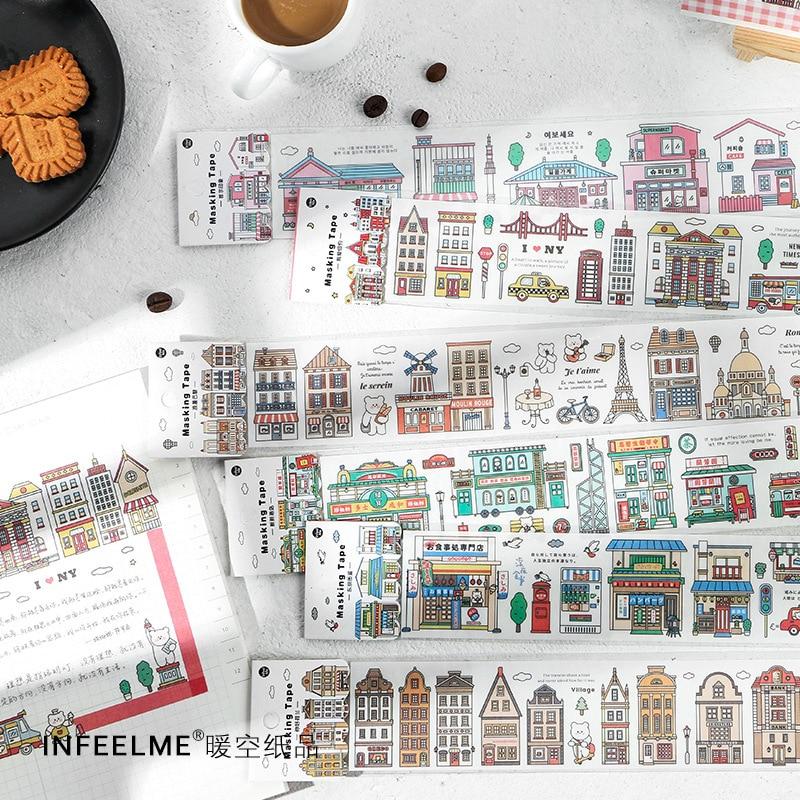 Urban Building Series Long Washi Masking Tape Cartoon Cute DIY Girl Car House Stationary School Supplies Decoration