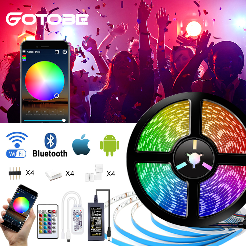 RGB 5050 Smart LED Strip WIFI Control Bluetooth Control APP Remote Control 12V Waterproof Flexible Led Light Strip For Home
