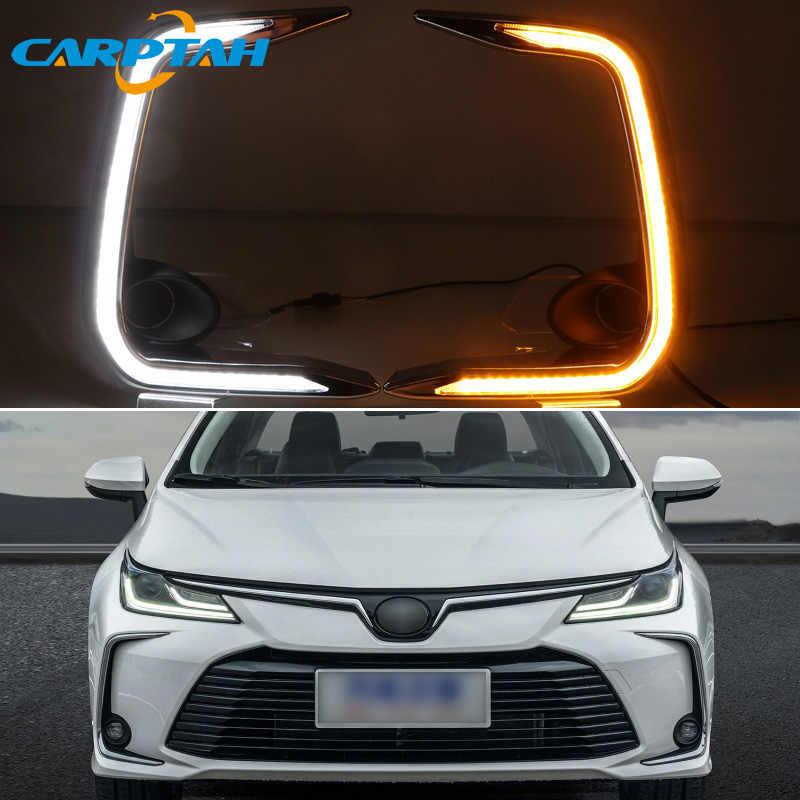 LED de luz diurna para Toyota Corolla 2019 amarillo 2020 a Signa impermeable 12 V, lámpara de niebla para decoración de parachoques Luz LED DRL