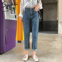 Women Jeans Italy High-Waist Ankle-Length-Pants Street Fashion Plus-Size Mom Casual Coated