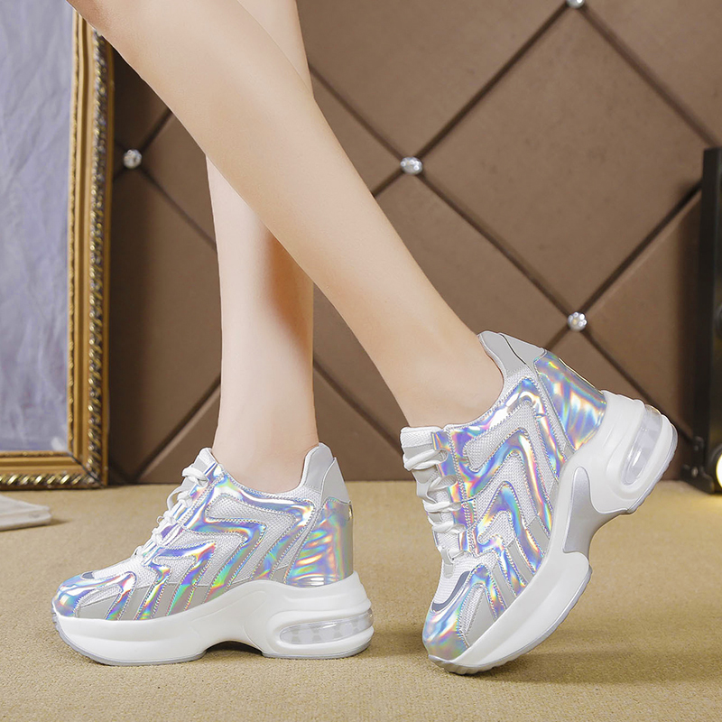 Rimocy Chunky Platform Silver Laser Sneakers Women Height Increasing Casual Vuncanize Shoes Woman Thick Bottom Air Cushion Shoes