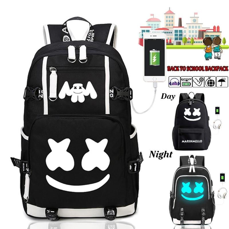 Dj Marshmallow Backpacks USB Charging For Teenagers Boys Girls Student Bookbag Travel Casual Luminous Canvas School Backpack