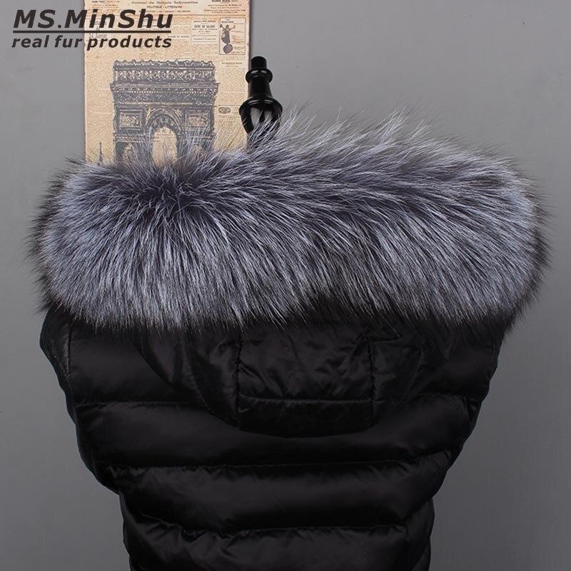 Ms MinShu Genuine Silver Fox Fur Collar Hoodie Fur Trimming Natural Fox Fur Hood Trim Scarf