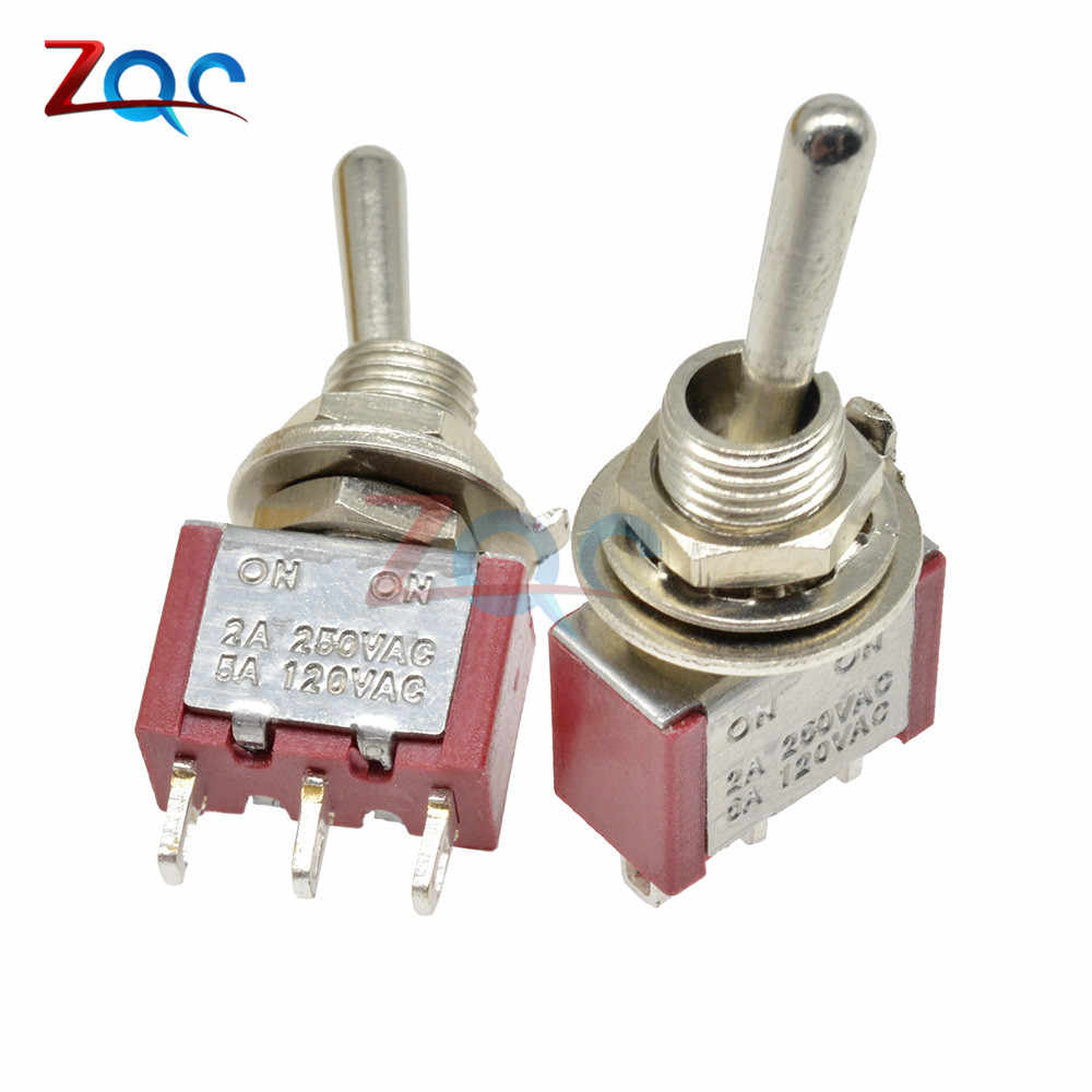 5 Pcs MTS-102 Toggle Switch 3Pin 2 Posisi Menempel SPDT MTS102 On-On 120VAC 6A 5A 2A 250VAC 1/4 inci Pemasangan 13*8/13X7 Mm