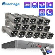 Techage 16CH 5MP Poe Nvr Kit Bewakingscamera Twee Weg Audio H.265 Ip Ai Camera Outdoor P2P Cctv Video surveillance Set