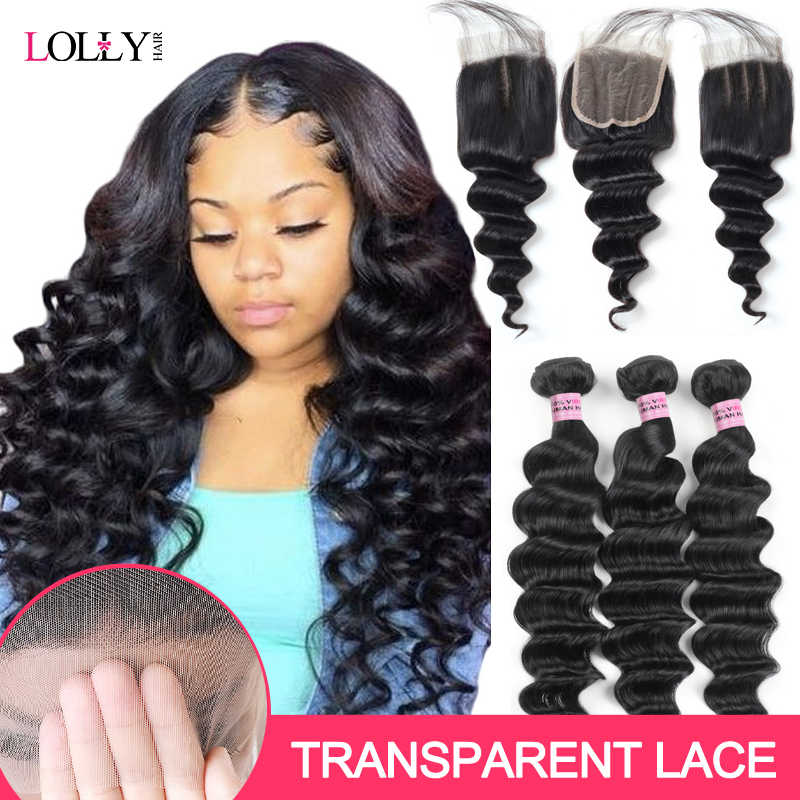 HD Transparent Lace Closure with Bundles Brazilian Loose Deep Wave Bundles with Closure Lolly Human Hair Bundles with Closure