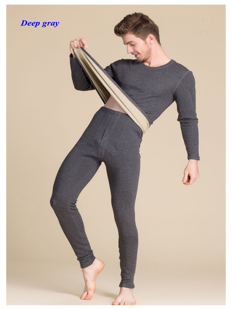 Nuovi uomini di arrivo di seta pura scollo rotondo di spessore lungo johns, 100% ha lavorato a maglia di velluto di seta lungo manicotto di biancheria intima termica degli uomini di set - 3
