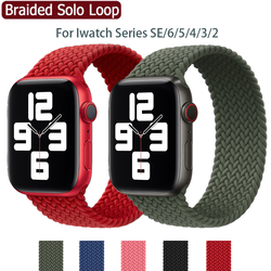 Braided Solo Loop For Apple Watch Band 44mm 40mm 38mm 42mm Fabric Nylon Elastic Belt Bracelet IWatch Series 6 SE 5 4 3 Strap