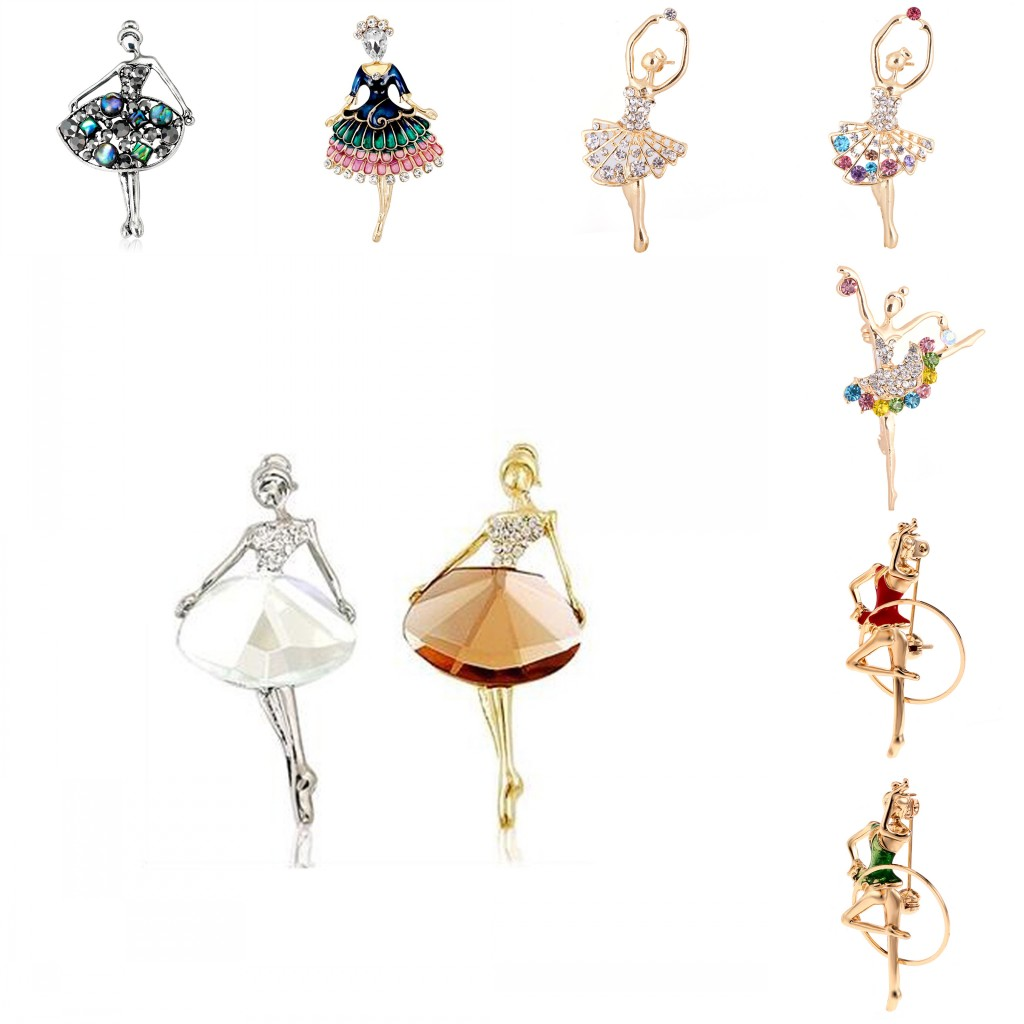 <font><b>16</b></font> Styles Trendy Crystal Brooches <font><b>Sex</b></font> Modern Lady Model Dancer Ballerina Brooch Female Hat Sweater Badge Pins For Women image