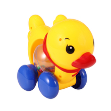 Educational Toy Baby Rattles Pull Rope Cartoon Duck Music Handbell Toy Newborn Learn Walking Hand Shaking Bell Car Rattles Toys