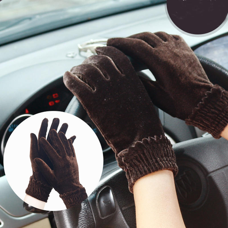Sale Winter Velvet Gloves Women Warm Stretch Mittens Full Finger Female Thin Guantes Driving Gloves