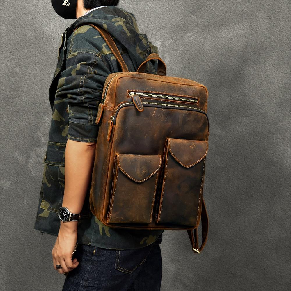 Durável couro de cavalo louco mochila masculina grande capacidade portátil saco de viagem mochilas retro primeira camada de couro sacos de escola - 3
