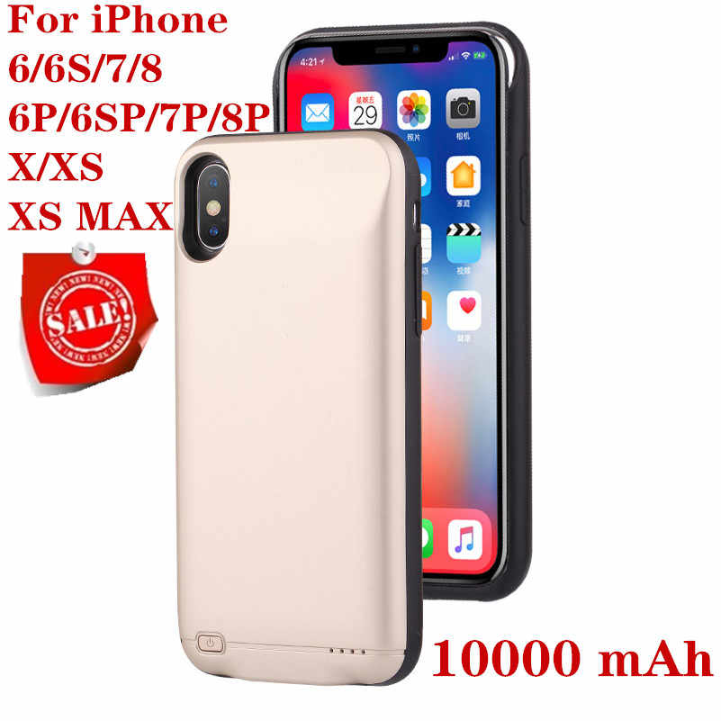 Hot 10000 MAh Battery Charger Case untuk iPhone 6 6S 7 8 PLUS Power Bank Pengisian Case untuk iPhone X XS Max XR 6 S Case Baterai