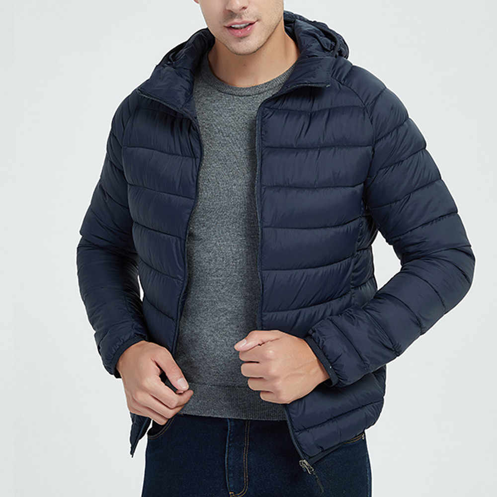 Jacket Men Autumn Winter Style Light Weight Overcoat Outerwear Coats Cotton Warm  Hooded Men's Jacket Coat chaqueta hombre S-2XL