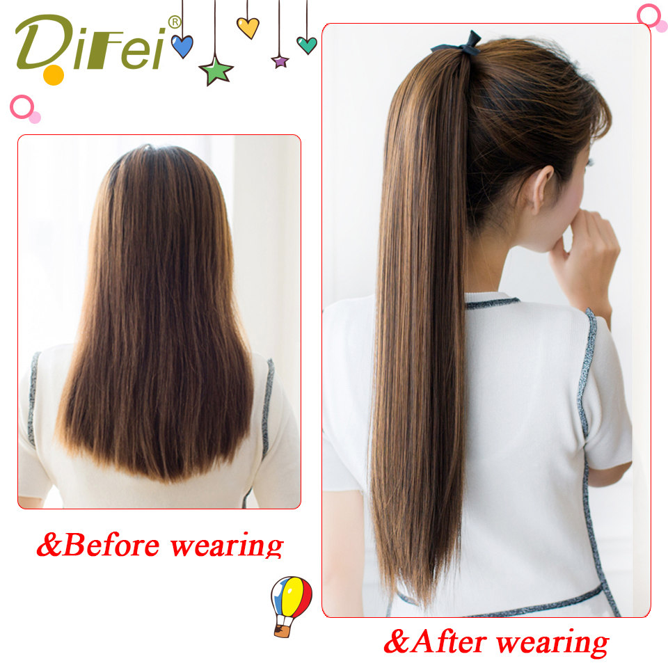 DIFEI Synthetic Ponytail Hairpiece Drawstring Heat-Resistance Clip-In Straight Long Black/brown