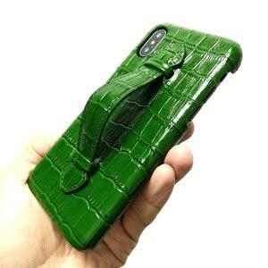 Image 3 - Solque 정품 가죽 울트라 얇은 케이스 아이폰 X XS 맥스 7 8 플러스 핸드폰 럭셔리 악어 핸드 스트랩 슬림 하드 커버 케이스
