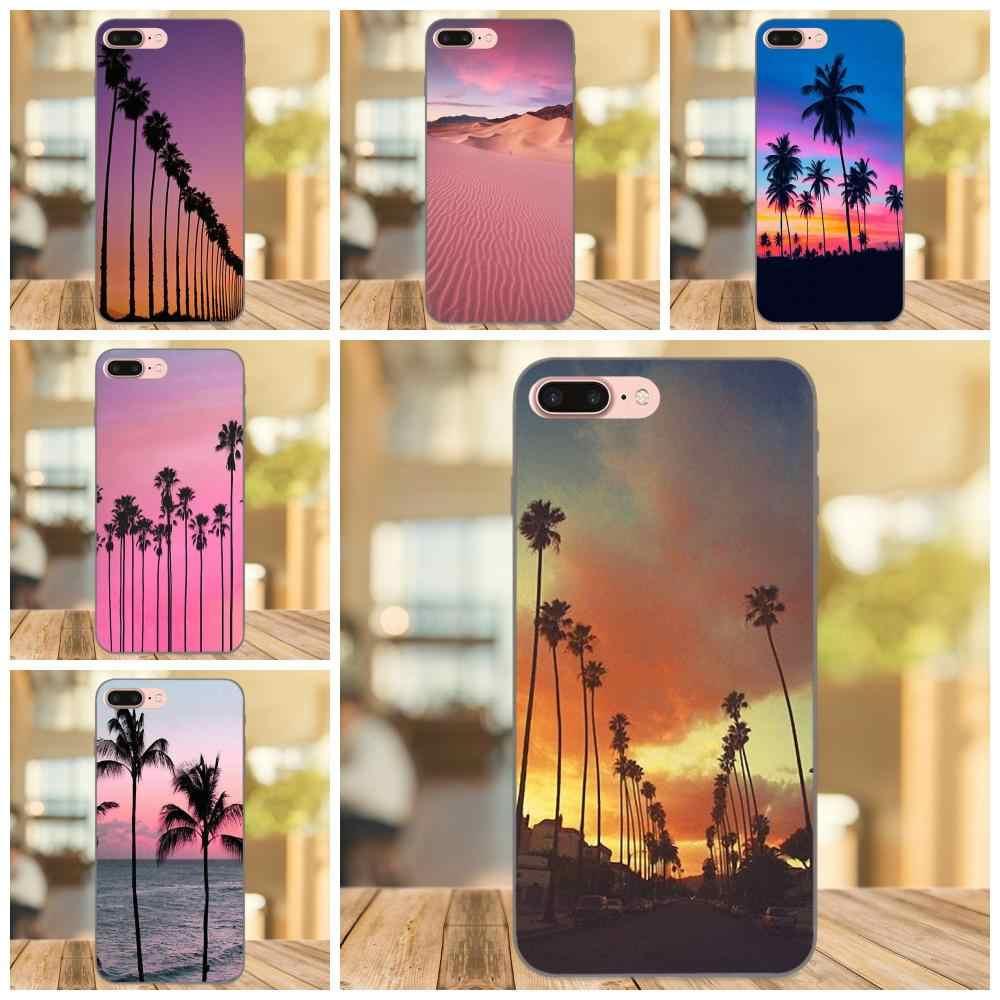 Weiche Custom Design Baum Rosa Sunset California Stil Nette Für Apple iPhone 4 4S 5 5S SE 6 6S 7 8 Plus X XS Max XR