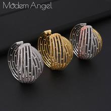 ModemAngel, роскошные массивные большие круглые серьги с кубическим цирконием для женщин, свадебные Круглые круглые серьги-кольца в Дубае