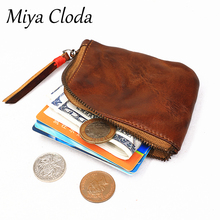 First layer leather vegetable tanned leather handmade old creative color paint purse female U shield headset cable storage bag