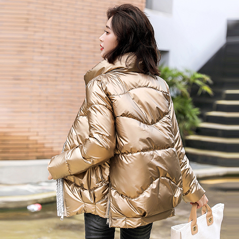 2020 Winter Jackets Women's Shiny Loose Casual Short Parkas Woman Stand Collar Solid Plus Size Cotton Padded Thick Coat Ladies
