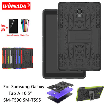 For Samsung Galaxy Tab A 10.5 T590 case for SM-T590 T595 Tablet 10.5 inch armor Silicone TPU+PC Shockproof Stand Cover +pen+Film for fire7 2019 armor case 7 0 inch tablet hand held strap silicone tpu pc shockproof stand cover case for amazon kindle fire 7 2019