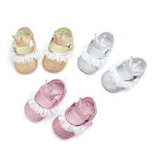 Newborn Toddler Baby Girl Soft Sole Crib Sequins Lace Crown Shoes Anti-slip Sneaker Prewalker 0-18M