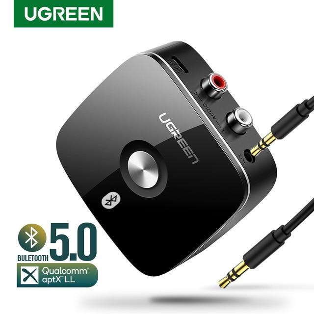 UGREEN Bluetooth Receiver 5.0 Auidoเพลง 3.5 มม.RCA APTX LL Latencyต่ำบ้านเพลงสตรีมมิ่งเสียง 3.5 มม.2RCAอะแดปเตอร์
