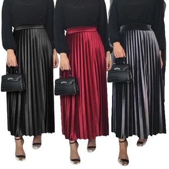 Fashion Women Autumn Winter Velvet Pleated Skirt Elastic High Waist Female Bottoms Muslim Women Ankle Length Ladies Long Skirts