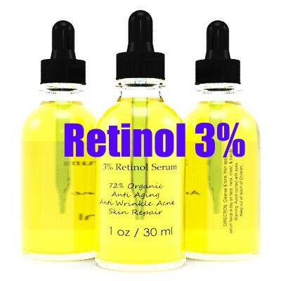 Original Retinol 3% Clinical Strength Organic Hyaluronic Acid Potent Wrinkle Serum 30ml Free Ship