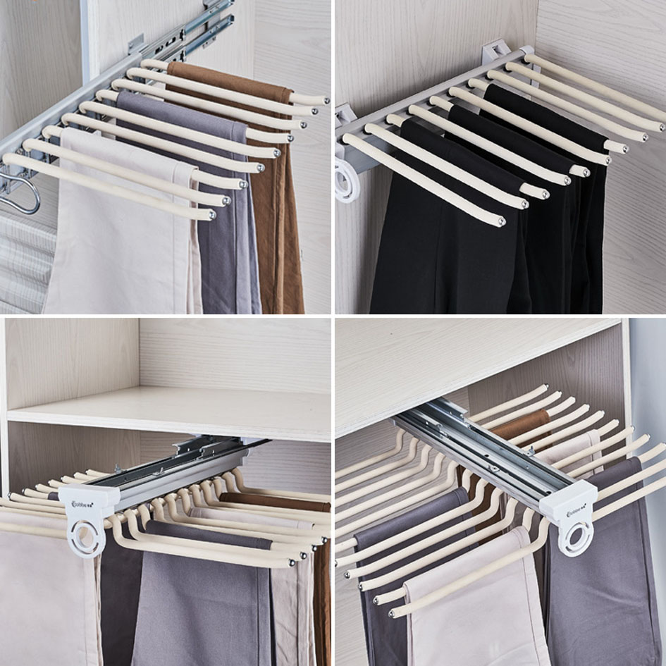 Trousers Rack Top Install / Side Install Telescopic Pants Rack Push-pull Damping Double-row Cabinet Pant Racks Thicken Hardware