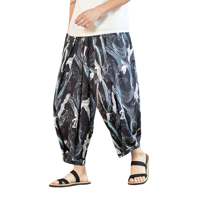 XXXXXL Men Wide Leg Pants Bird Print Loose Chinese Retro Joggers Trousers Men Japan Streetwear Casual Cotton Fisherman Pants 5XL