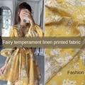 Новая модная одежда из натурального льна с желтым принтом на заказ, Детская рубашка, ткань «сделай сам» для платья, материал для метров