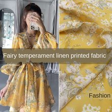 Brand new natural linen yellow printed custom fashion clothing shirt Children diy fabric cloth for dress by meter material