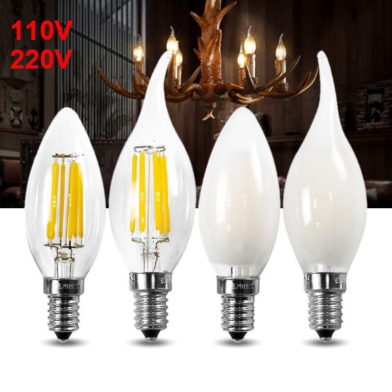 E12 E14 Flame High Power LED Chandelier Candle Light Filament Bulb Lamp