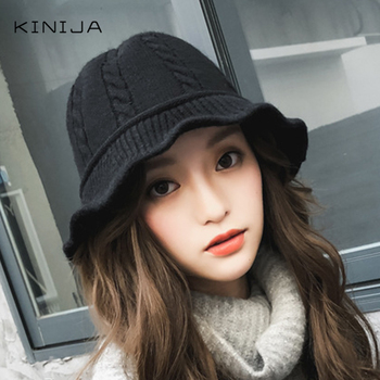 Women autumn and winter fisherman Hat Wool Blended Knitted basin cap Bucket Hat warm and versatile Panama hat stylish mixed color knitted bucket hat for women