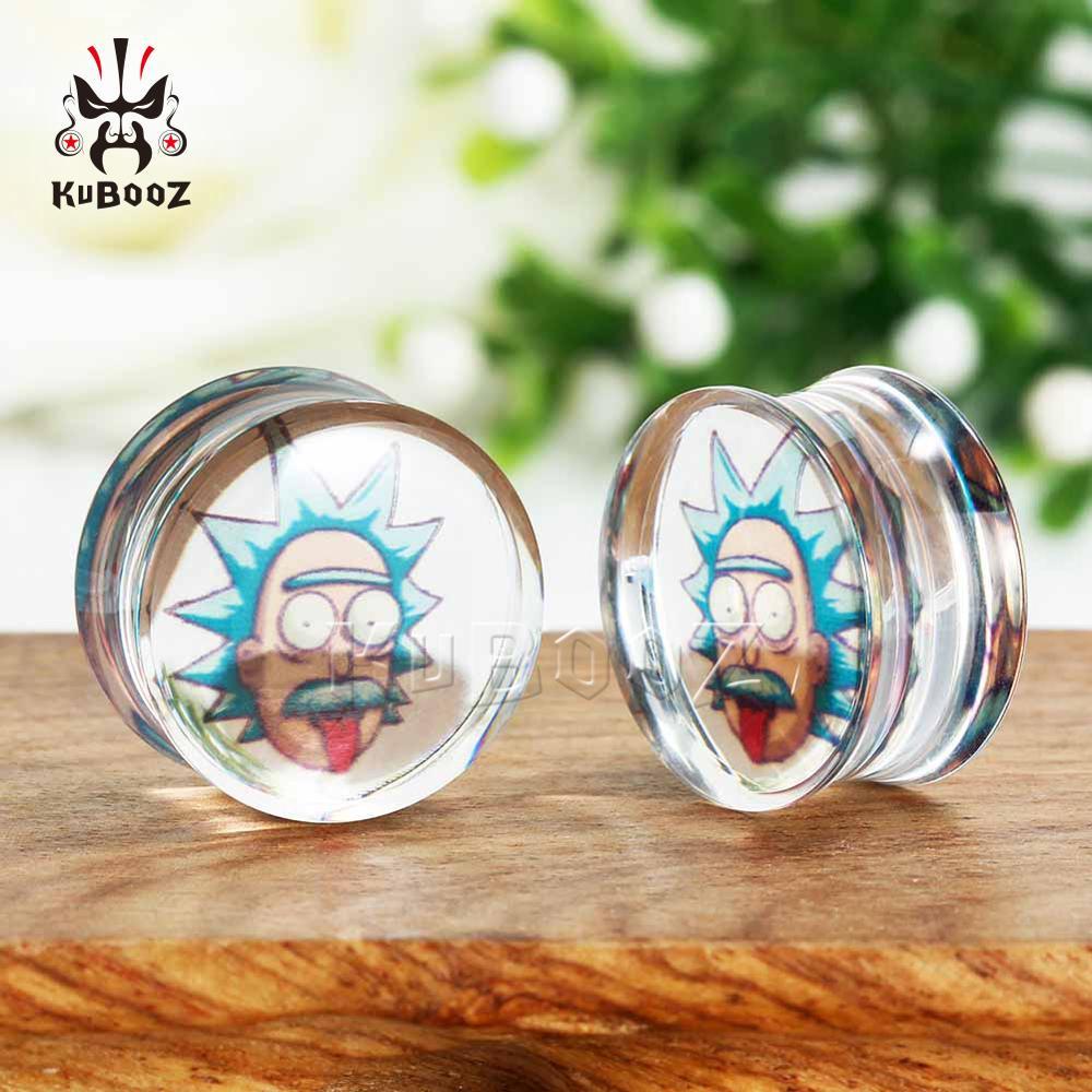 Kubooz Fashion Desigh Einstein Logo Transparent Acylic Ear Piercing Plugs Tunnels Simple Styles Jewellery For Unisex