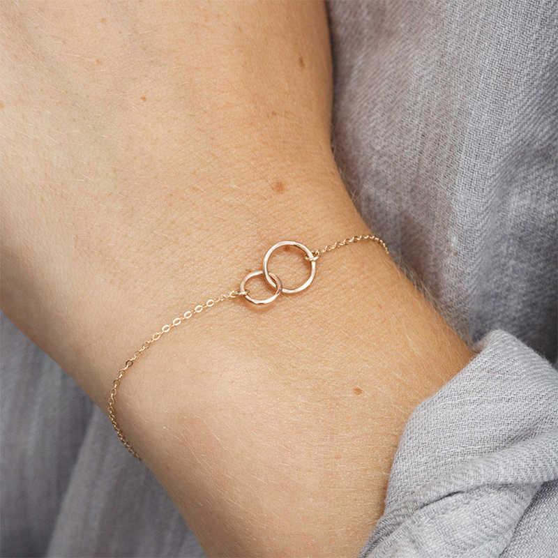 עגול 1PC DIY נירוסטה צמידי מתכוונן צמיד לב כסף שרשרת ידידות צמיד צמידי מעגל סגסוגת זהב