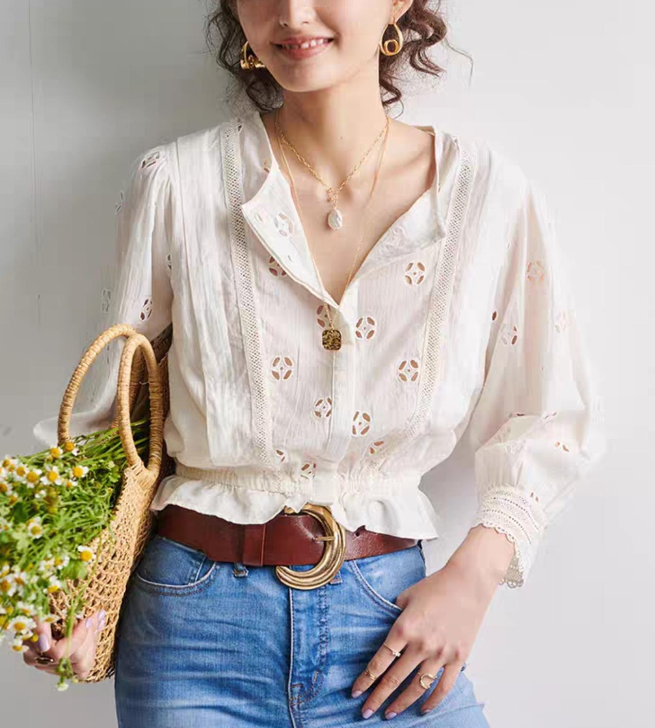 Temperament Embroidery Hollow Out Women Shirt 2020 New Ruffle 3/4 Sleeve Lady Shirt Tops