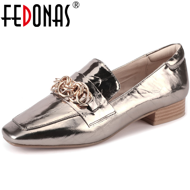FEDONAS New Women Classic Cow Leather Pumps Square Heels Pumps Fashion Solid Color Shoes Elegant Spring Metal Chain Shoes Woman