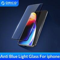Protector de pantalla de vidrio templado ORICO para iphone X XS XR XS Max Anti Blue Light 3D vidrio templado curvado endurecido para iphone