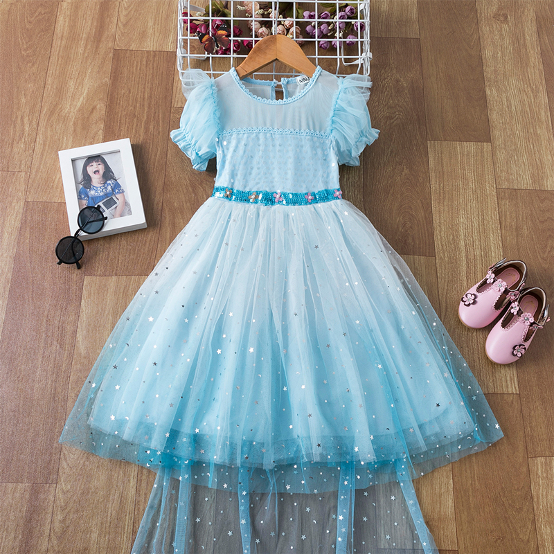 Vestido de lentejuelas para niñas de 4 a 10 años, traje de princesa informal para fiesta, meteorito azul cielo, disfraz con capa, Bata
