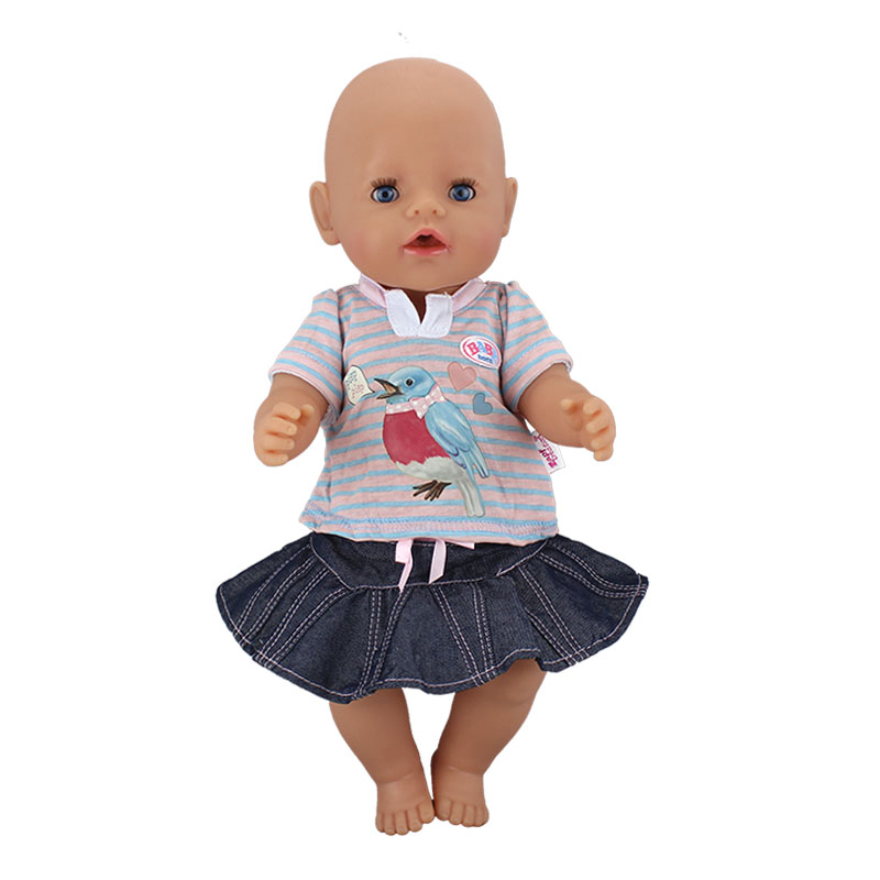 New Cowboy Dress Doll ClothesFit 17 Inch 43cm Doll Clothes Born Baby Doll Accessories Suit For Baby Birthday Festival Gift