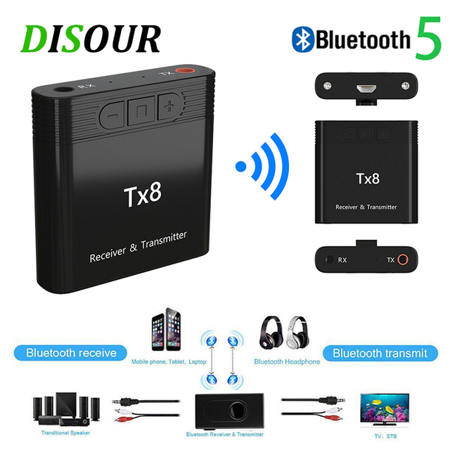 DISOUR TX8 5.0 Bluetooth Receiver Transmitter With Volume Control Button 2 in 1 Audio Wireless Adapter 3.5MM AUX For Car TV PC