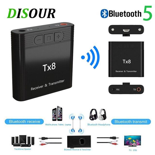 DISOUR TX8 5.0 Bluetooth alıcısı verici ses kontrol düğmesi ile 2 in 1 ses kablosuz adaptör için 3.5MM AUX araba TV PC